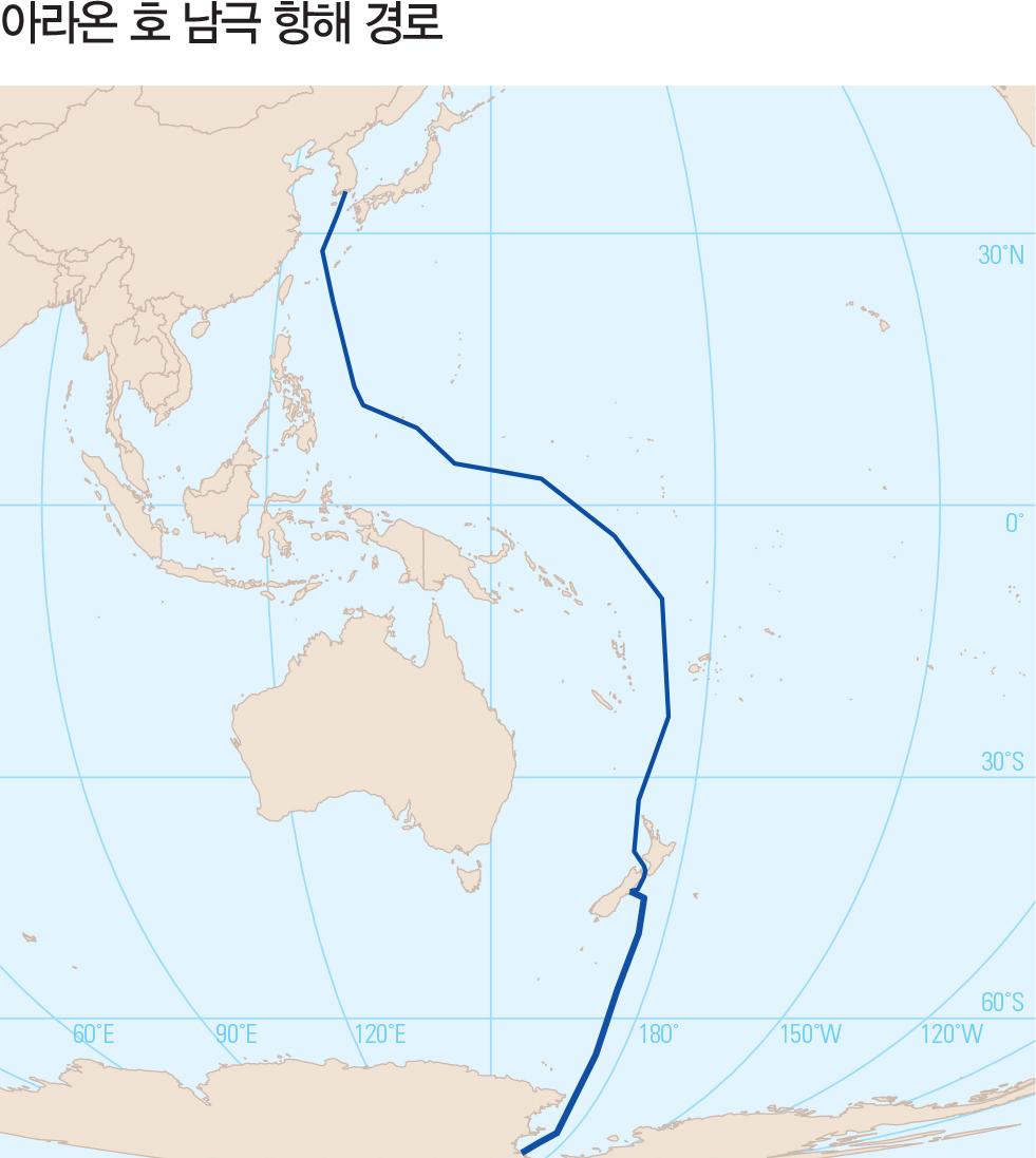 아라온 호 남극 항해 경로