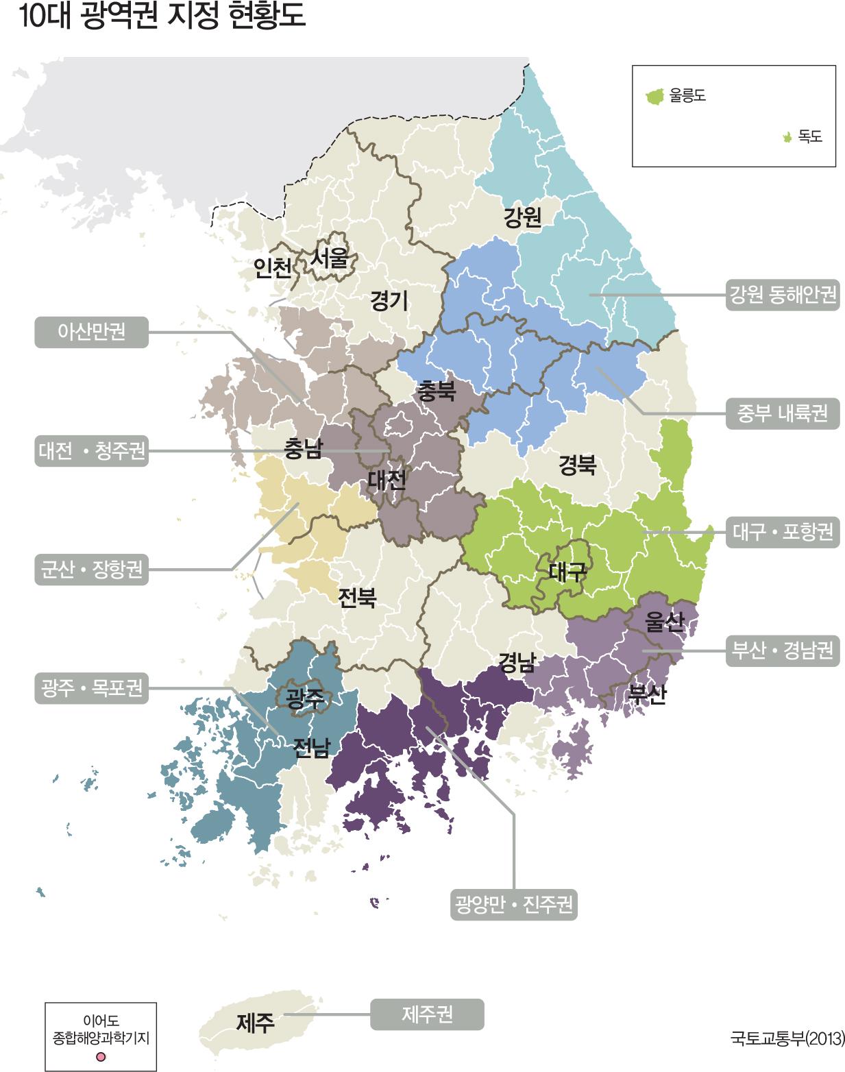 10대 광역권 지정 현황도