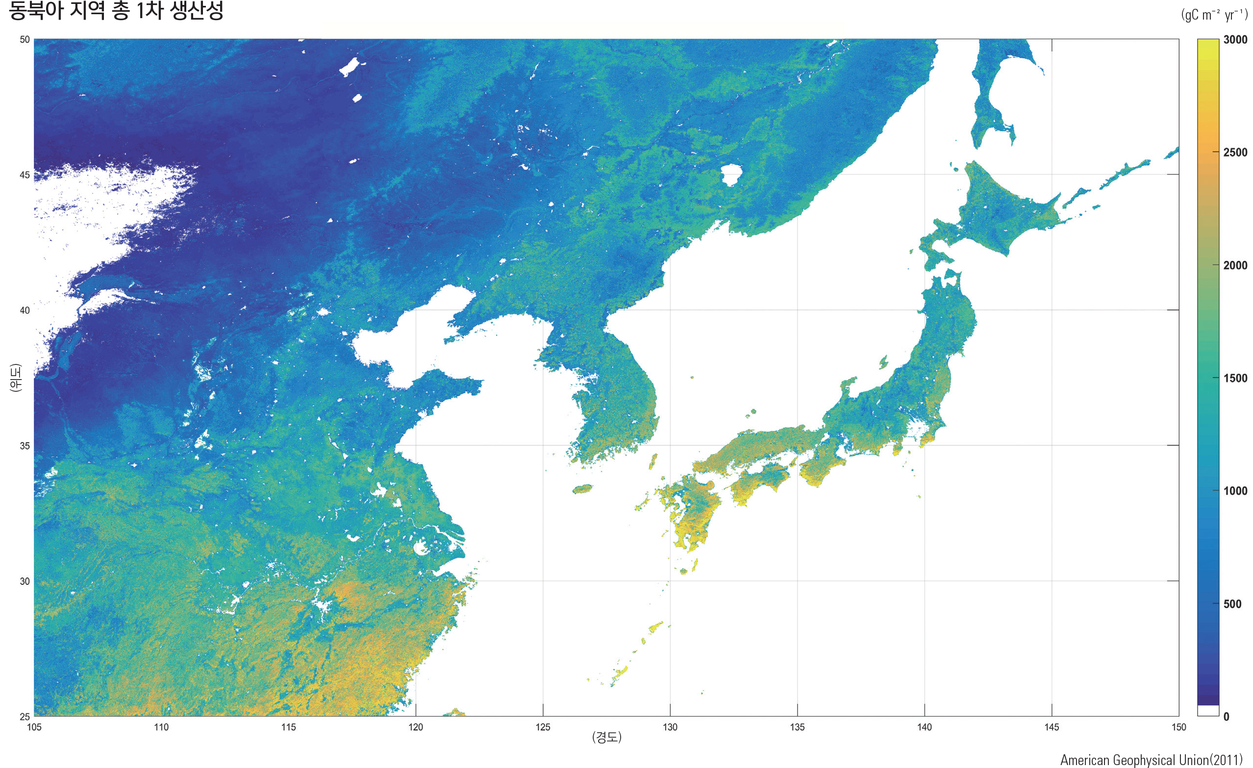 동북아 지역 총 1차 생산성