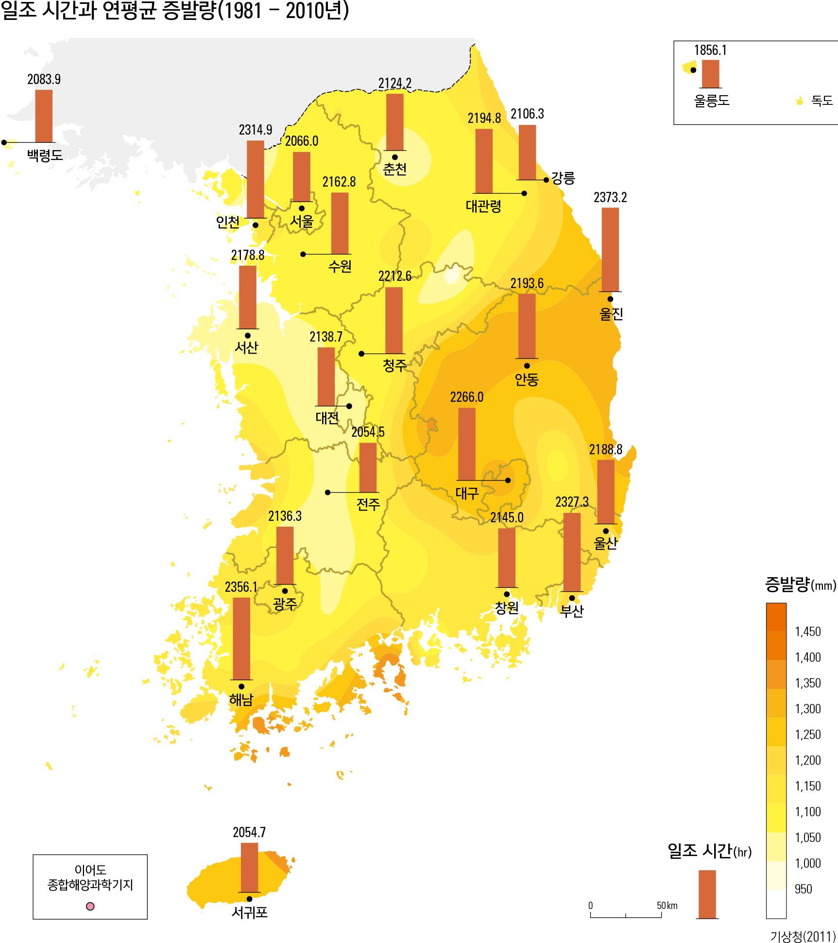 일조 시간과 연평균 증발량(1981 - 2010년)