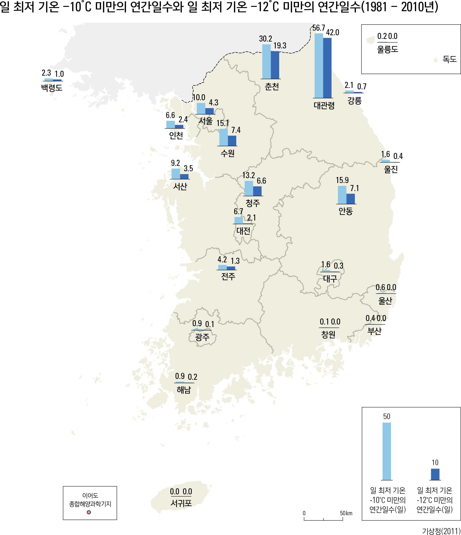 일 최저 기온 -10 ̊C 미만의 연간일수와 일 최저 기온 -12 ̊C 미만의 연간일수(1981 - 2010년)