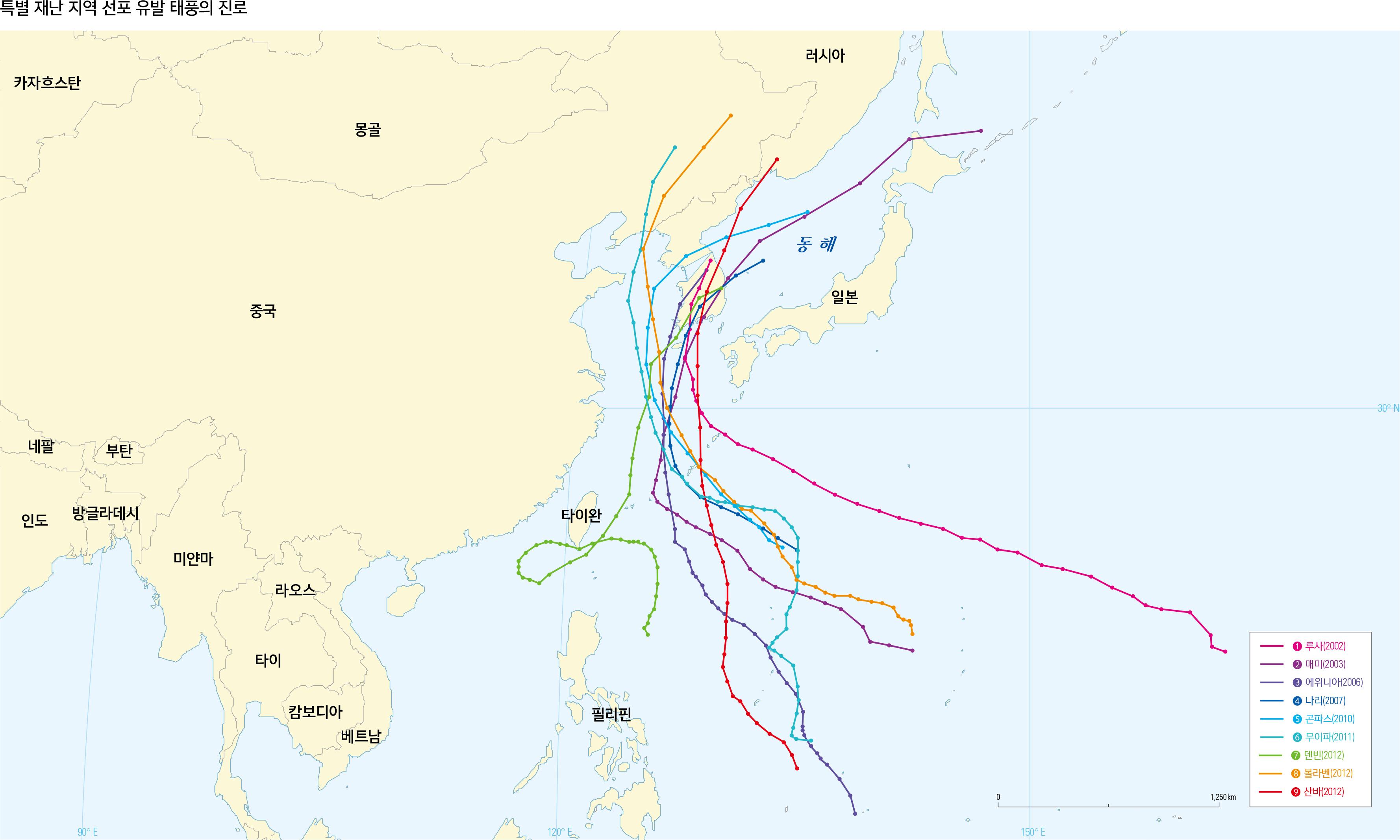 특별 재난 지역 선포 유발 태풍의 진로