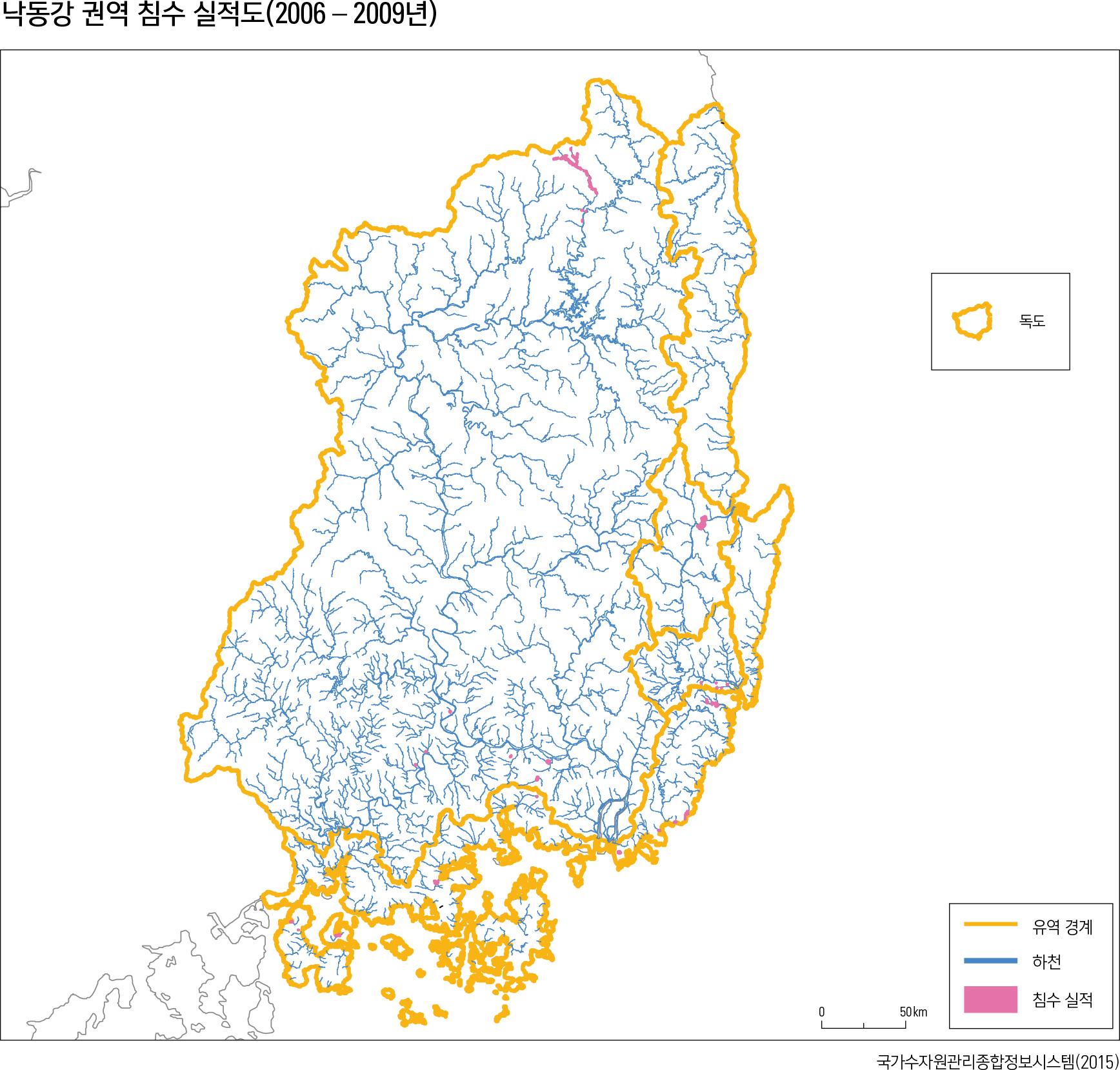 낙동강 권역 침수 실적도(2006-2009년)