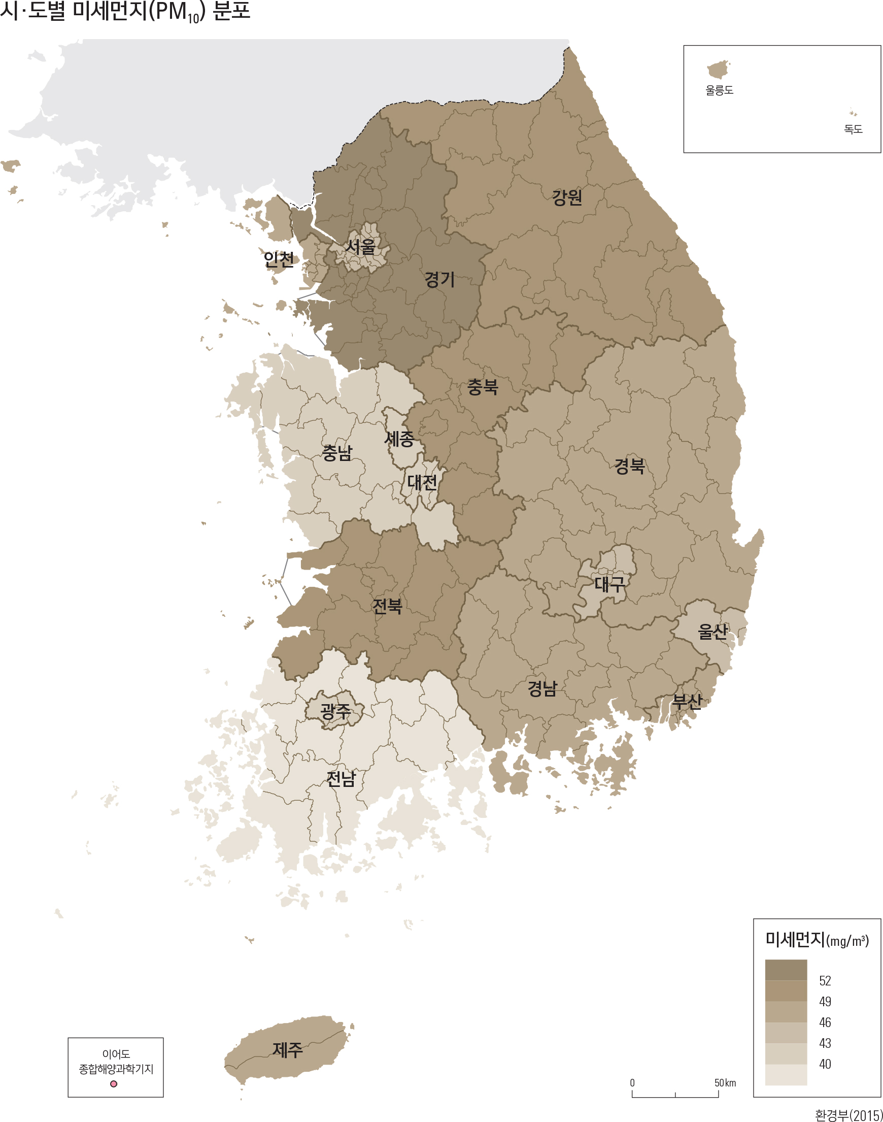 시·도별 미세먼지(PM10) 분포