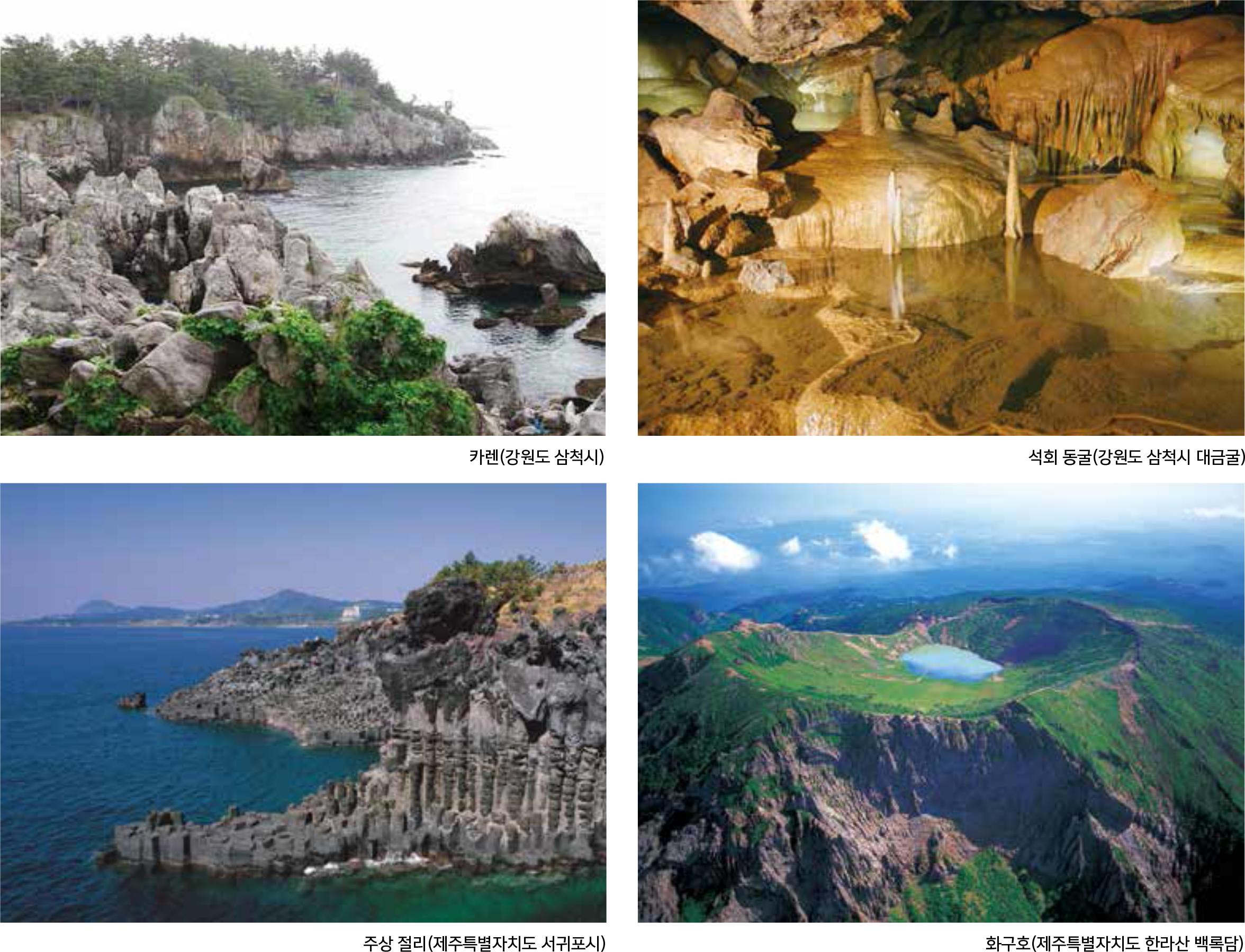 석회암과 화산암 분포