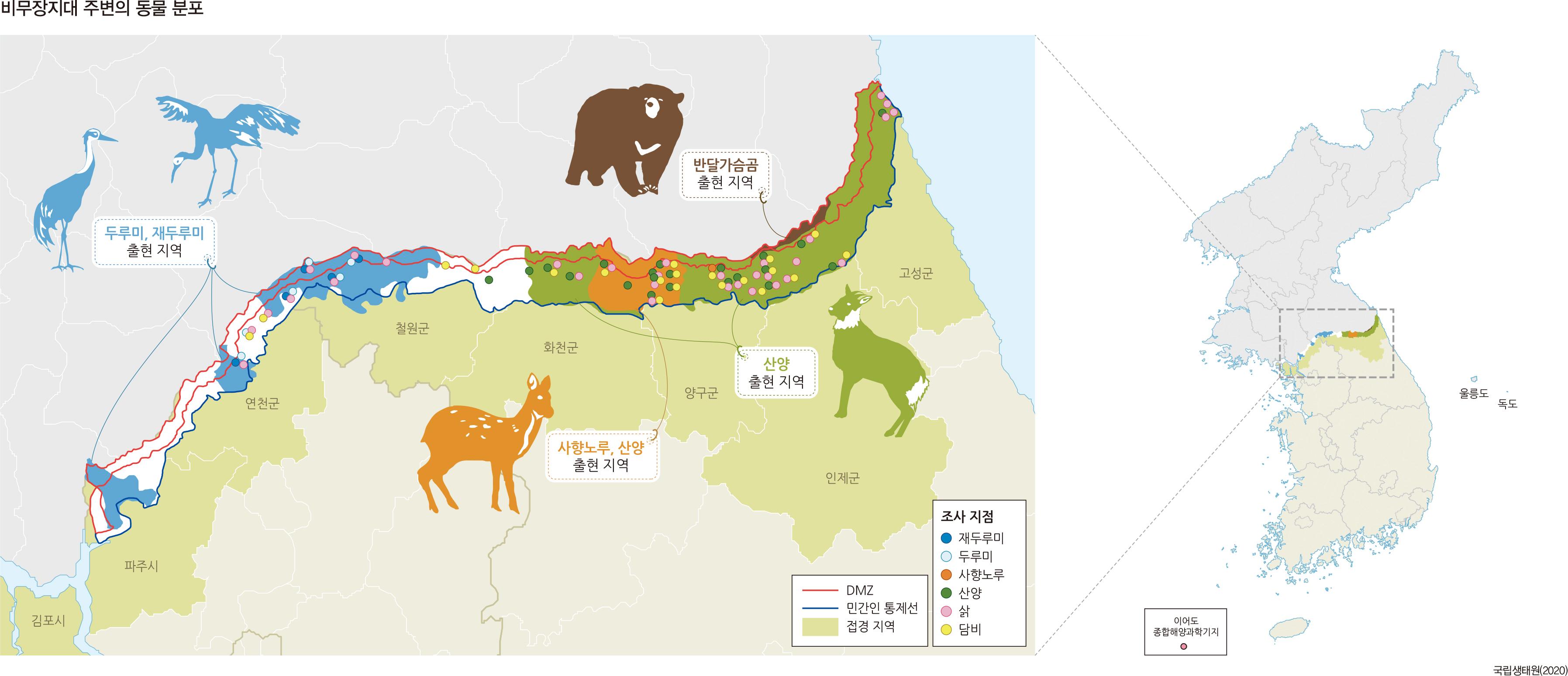 비무장지대 주변의 동물 분포