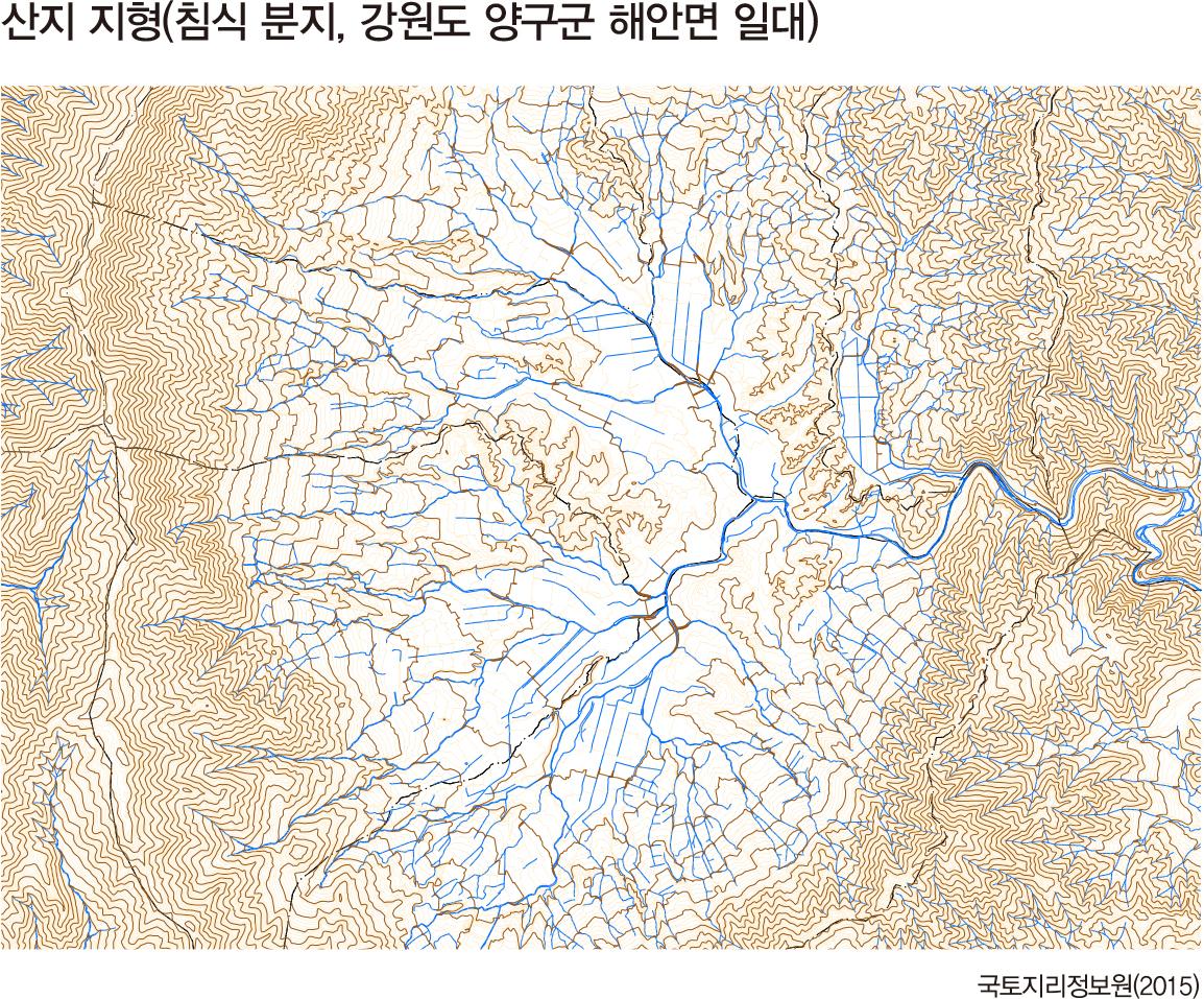 산지 지형(침식 분지, 강원도 양구군 해안면 일대)