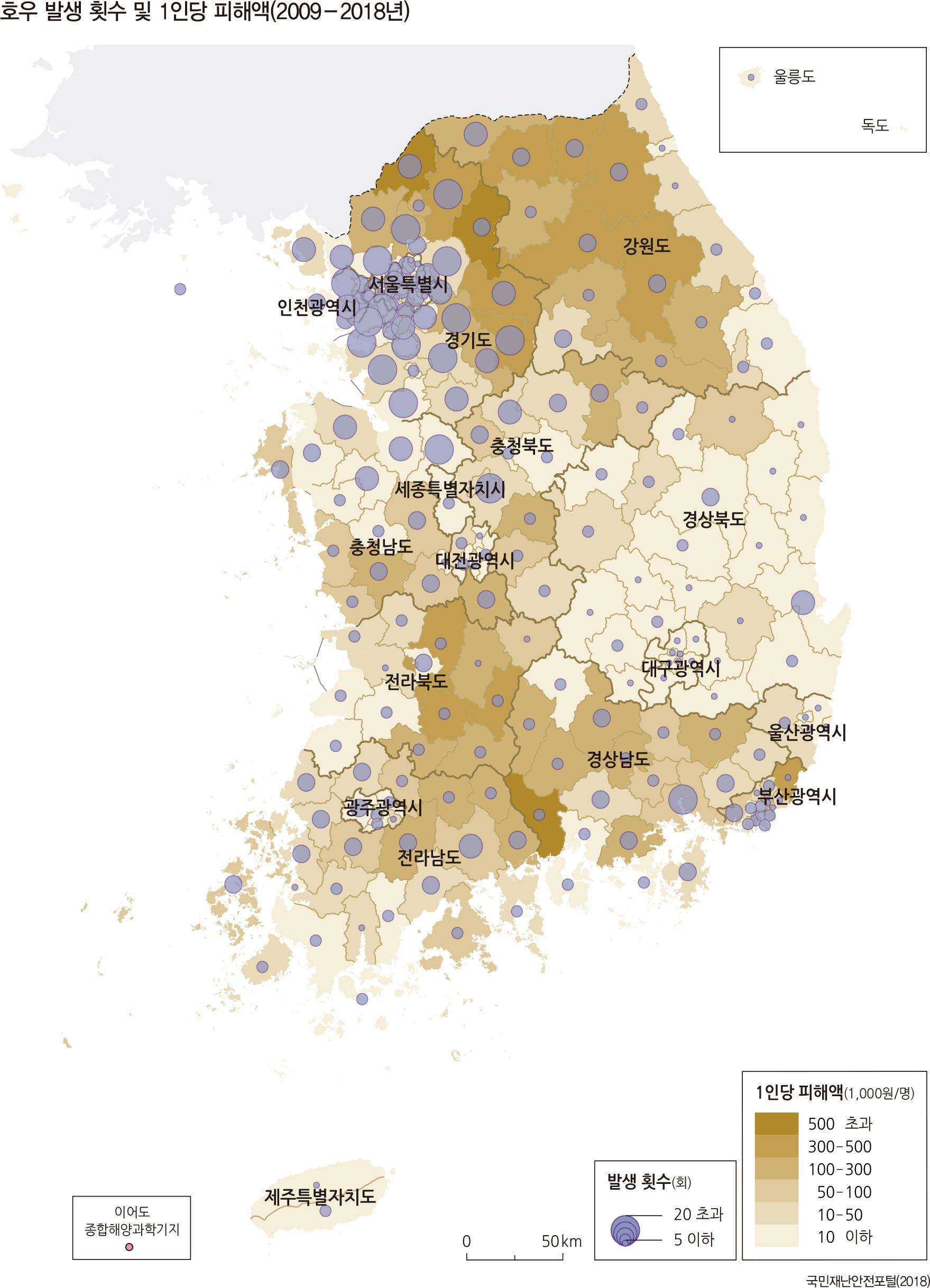 호우 발생 횟수 및 1인당 피해액(2009 - 2018년)