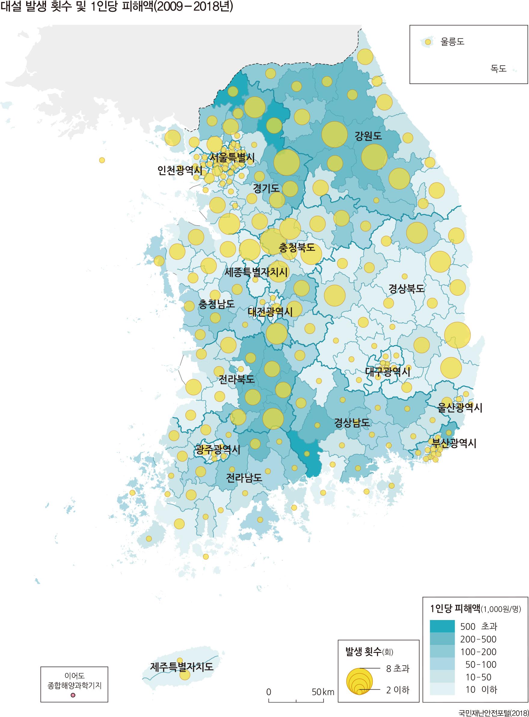 대설 발생 횟수 및 1인당 피해액(2009-2018년)