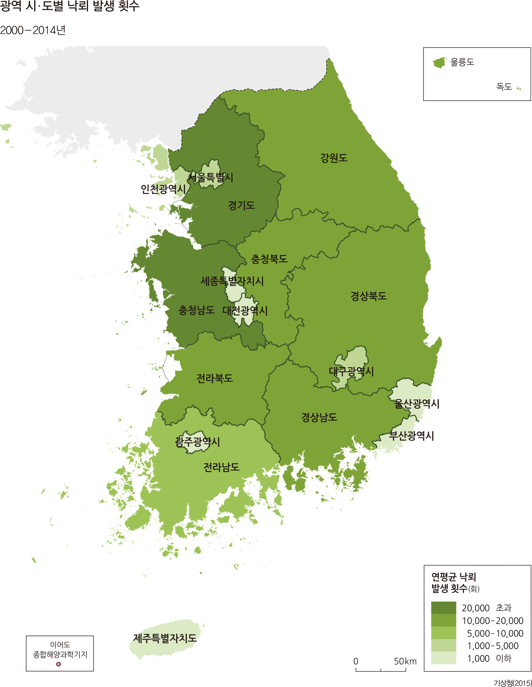 광역 시·도별 낙뢰 발생 횟수 /  2000 - 2014년