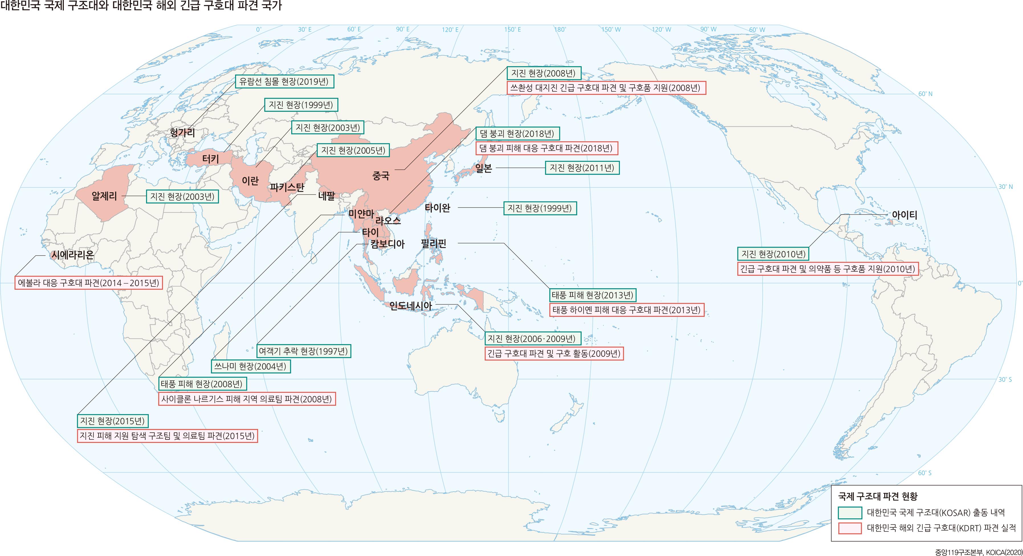 대한민국 국제 구조대와 대한민국 해외 긴급 구호대 파견 국가