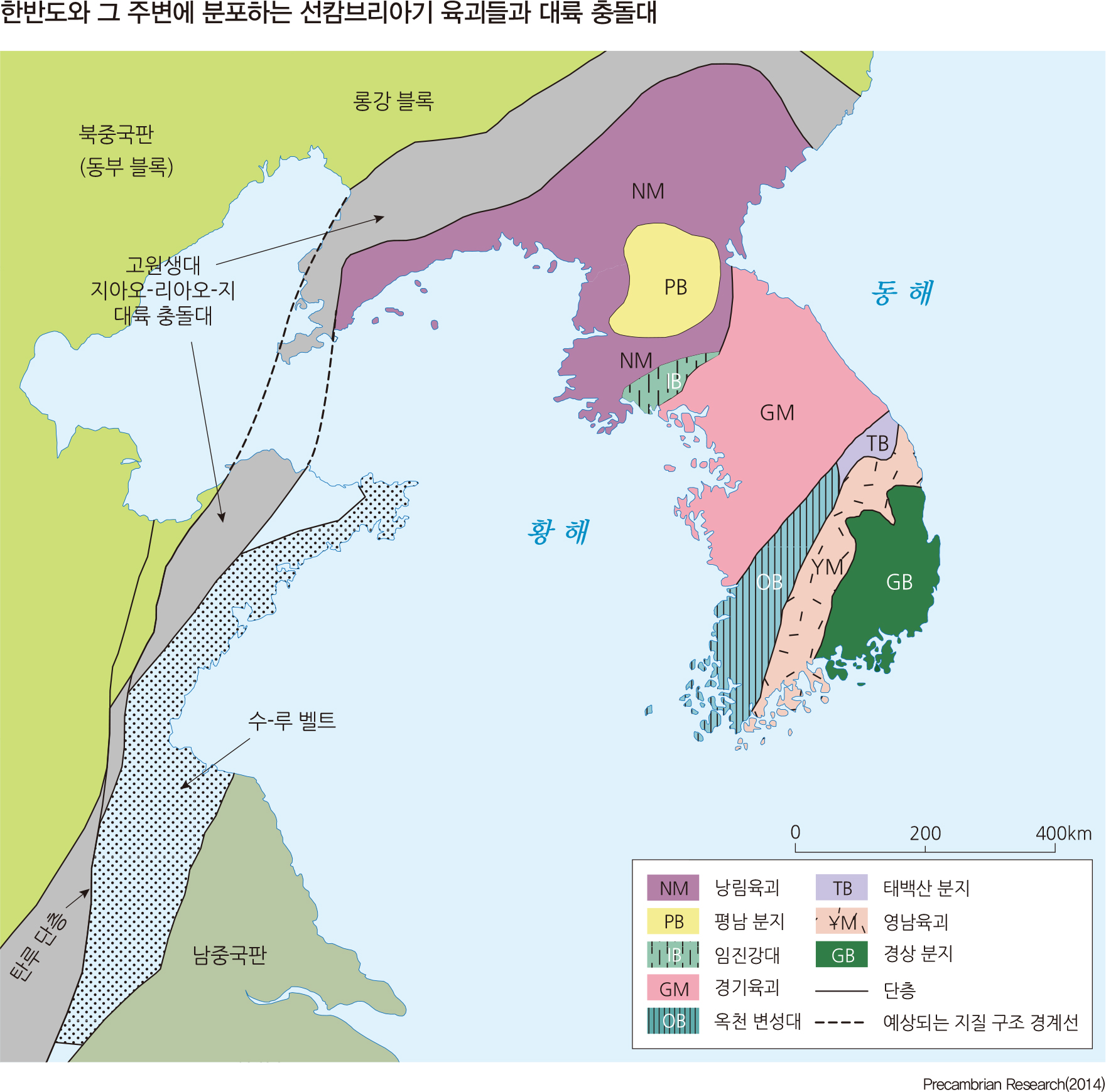 한반도와 그 주변에 분포하는 선캄브리아기 육괴들과 대륙 충돌대