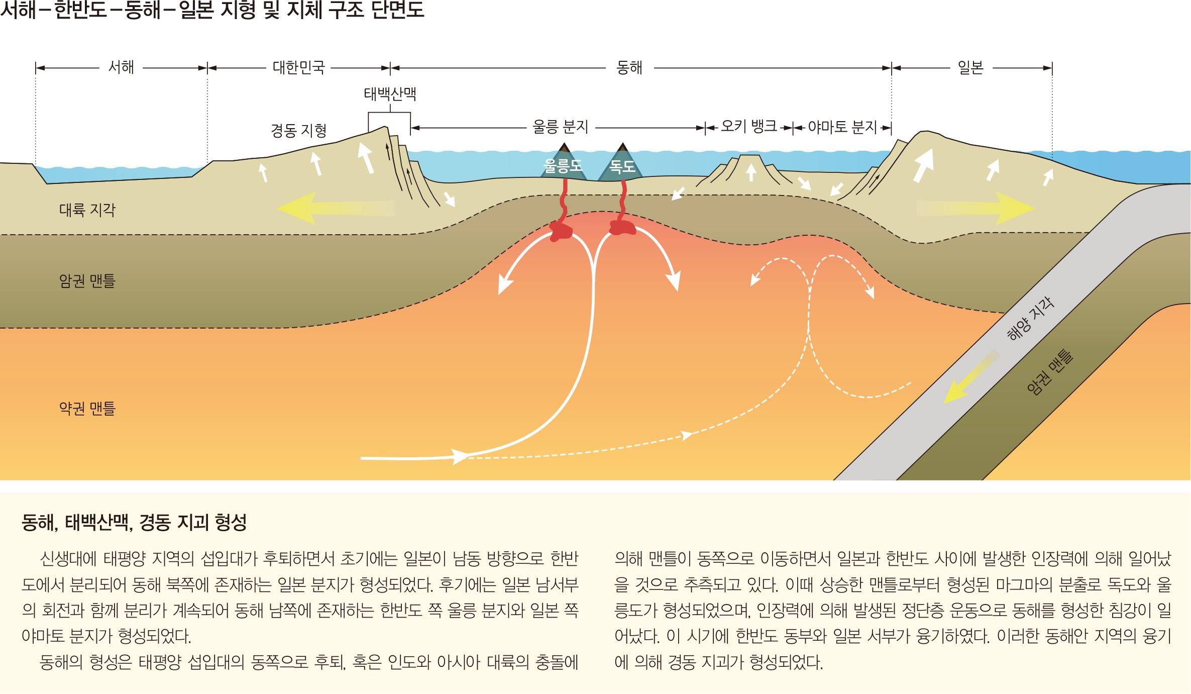 서해-한반도-동해-일본 지형 및 지체 구조 단면도