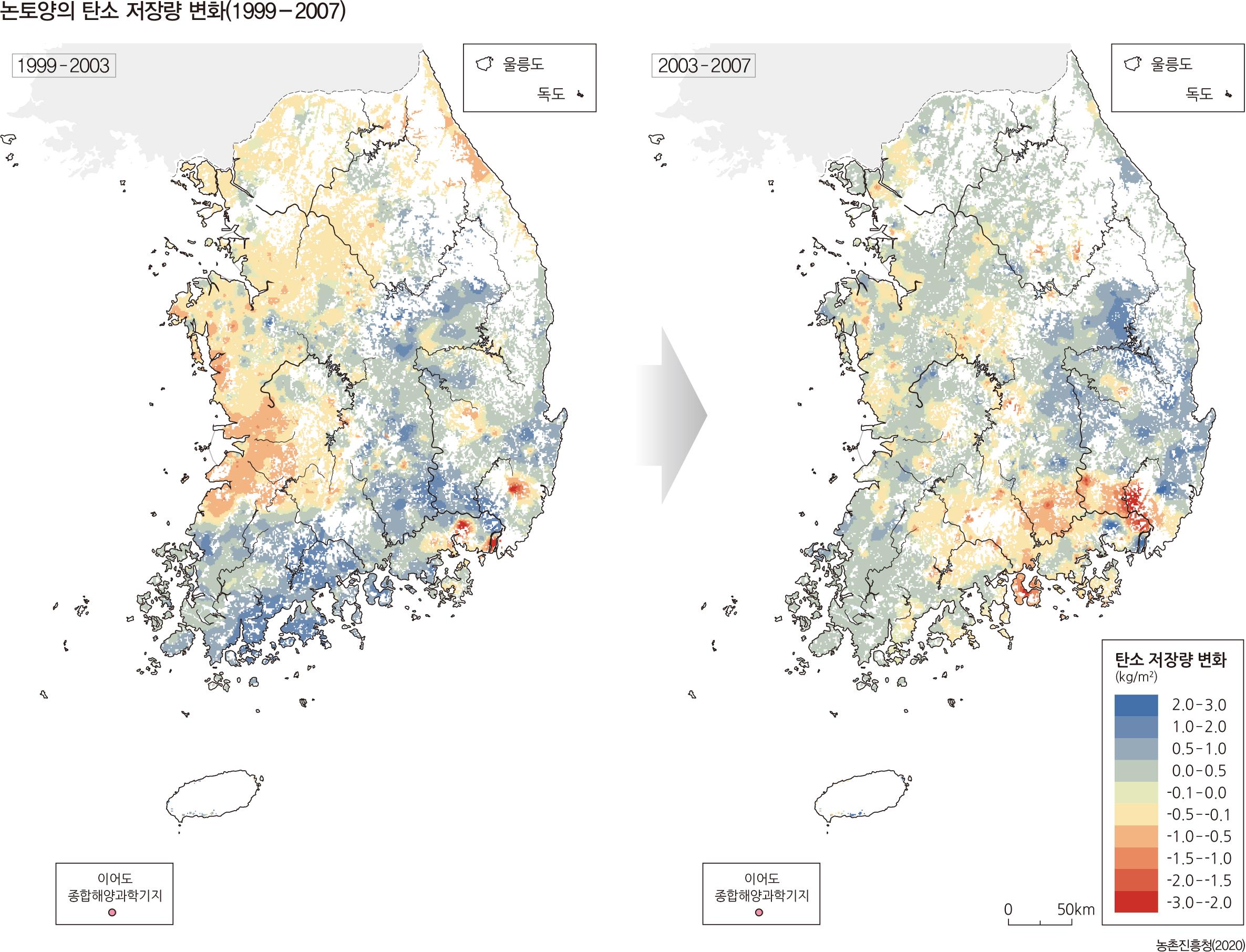 논토양의 탄소 저장량 변화(1999 - 2007)
