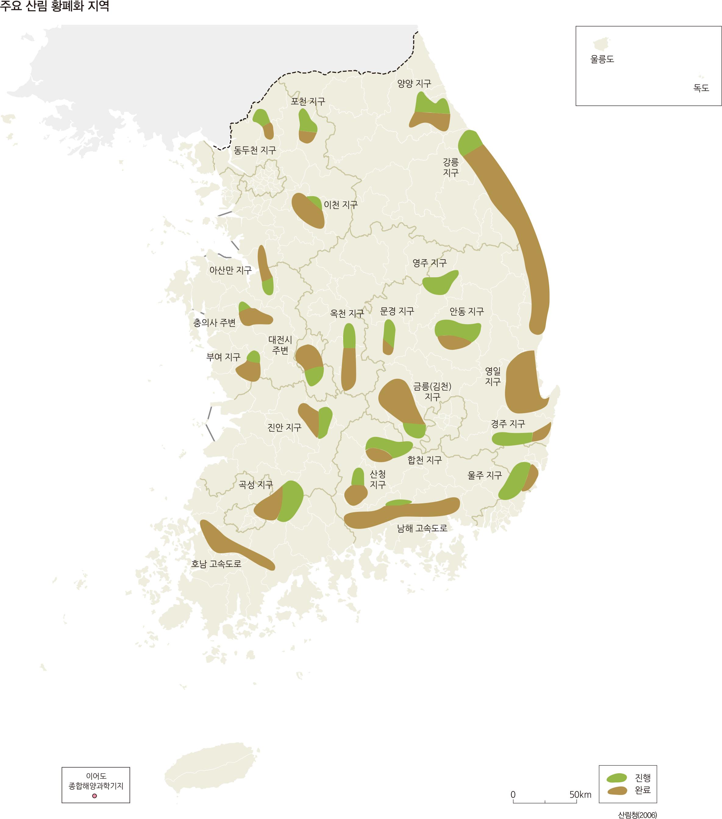 주요산림황폐화지역