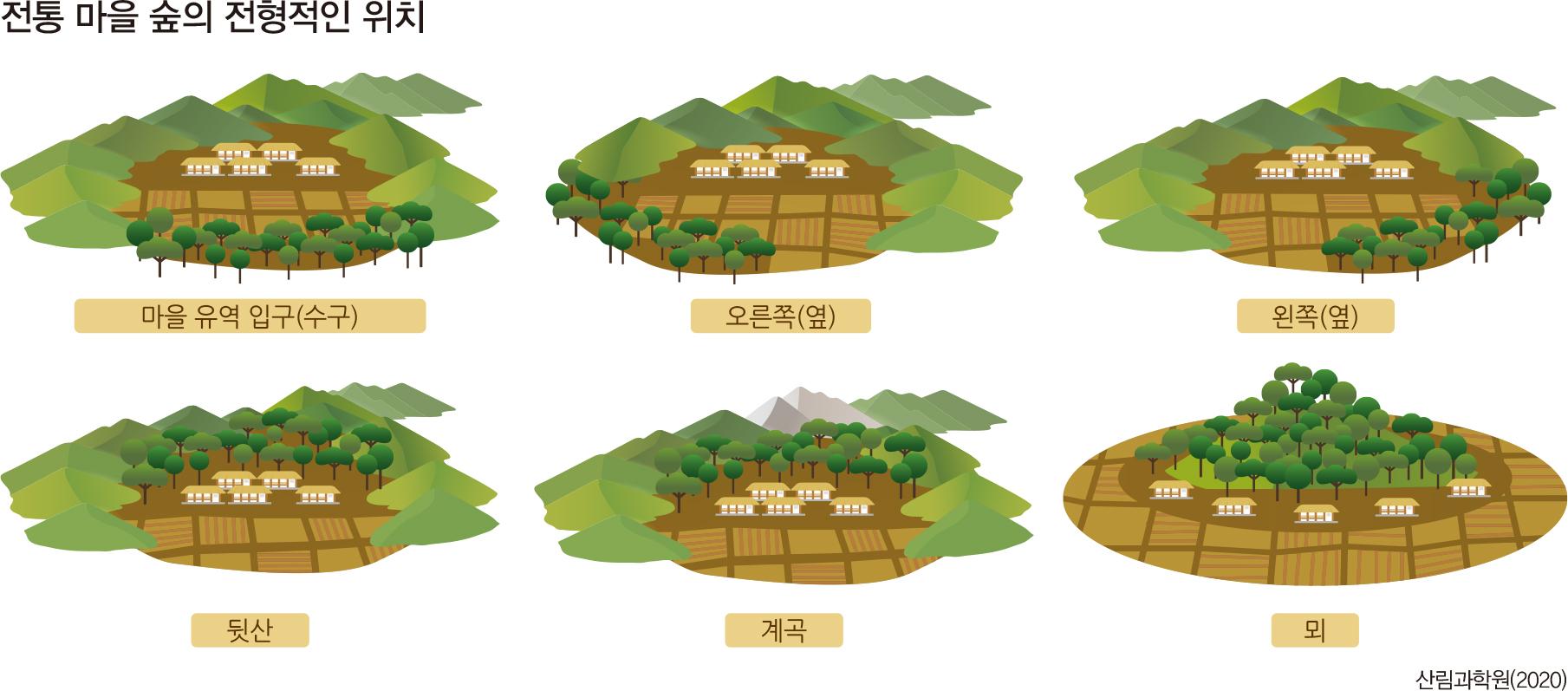 전통 마을 숲의 전형적인 위치