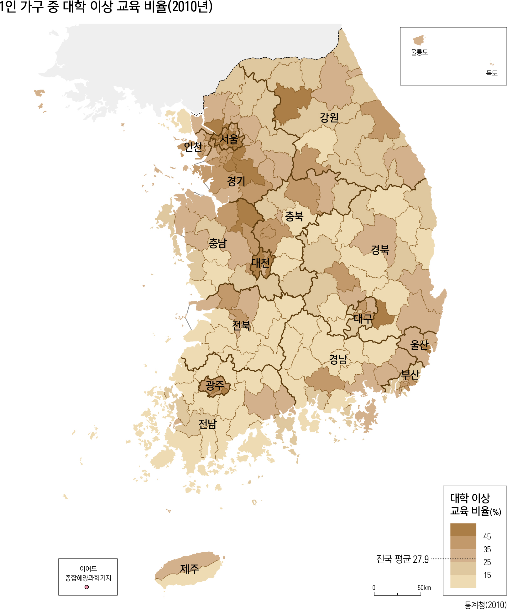 1인 가구 중 대학 이상 교육 비율(2010년)