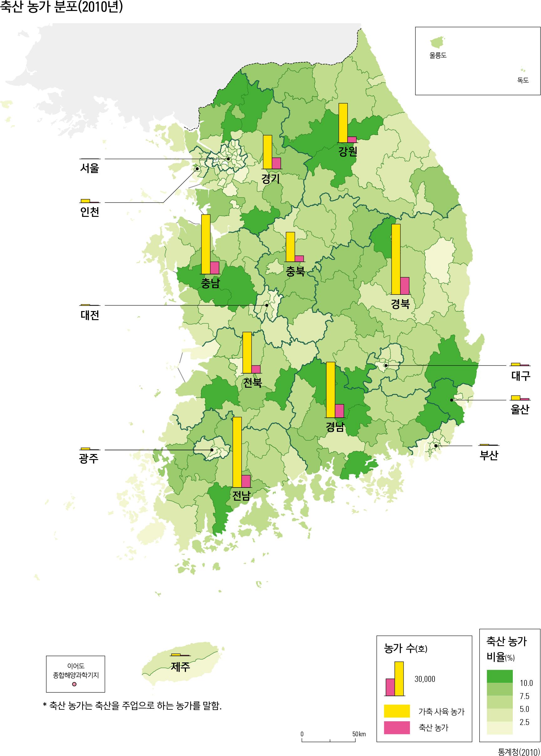 축산 농가 분포(2010년)