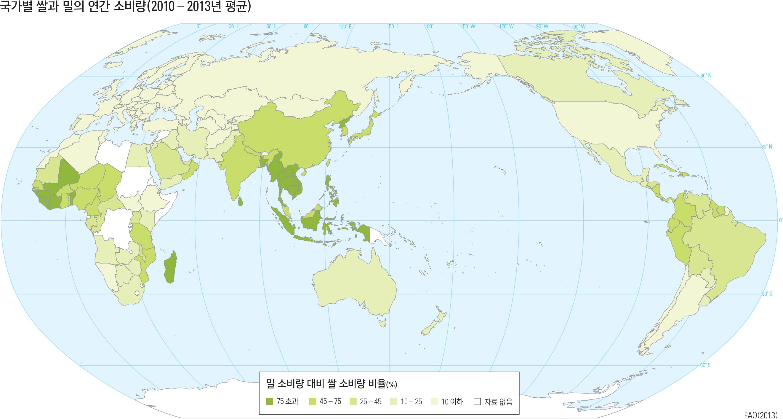국가별 쌀과 밀의 연간 소비량(2010 – 2013년 평균)