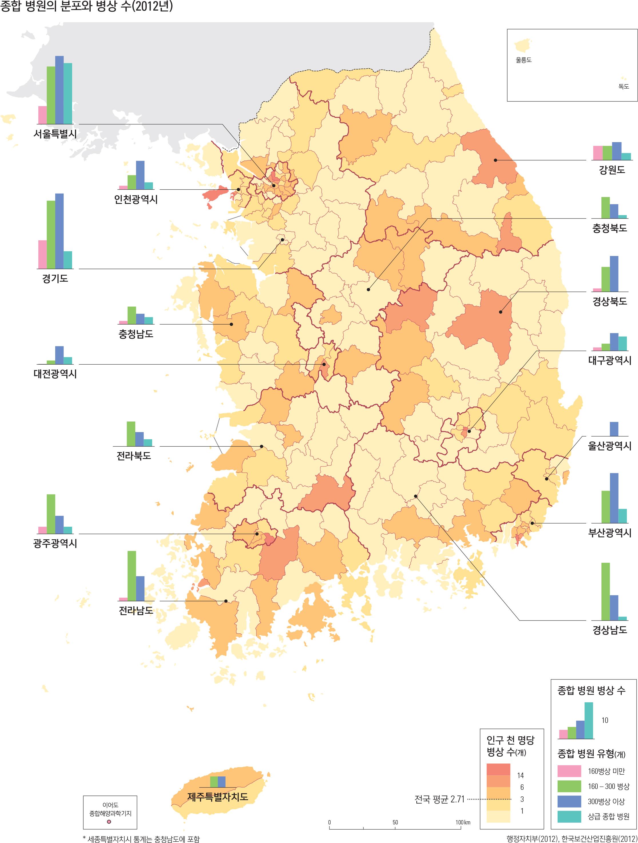 종합 병원의 분포와 병상 수(2012년)
