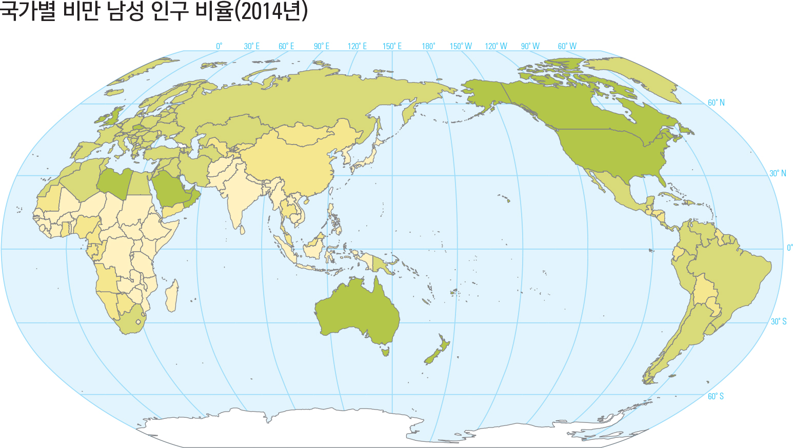 국가별 비만 남성 인구 비율(2014년)
