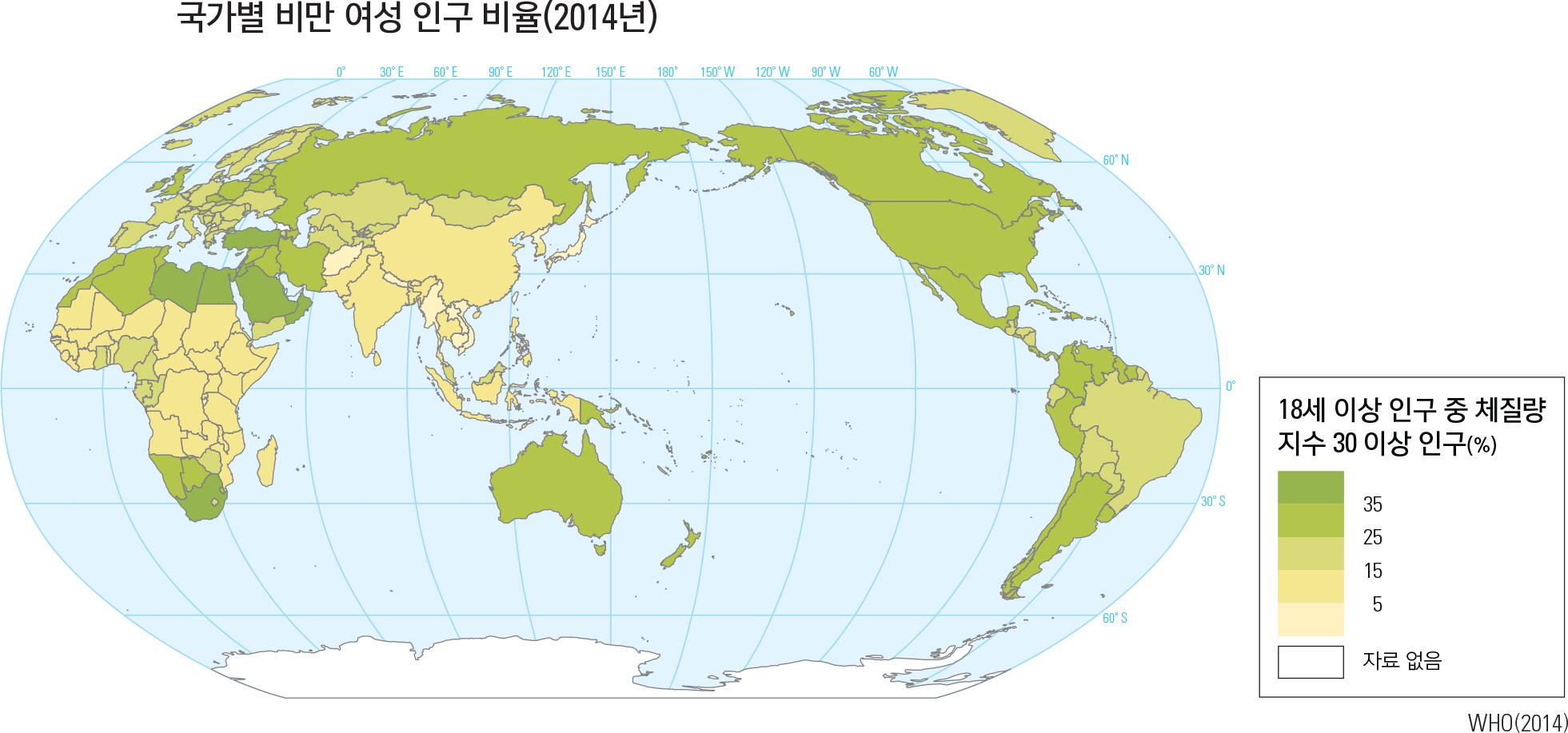 국가별 비만 여성 인구 비율(2014년)