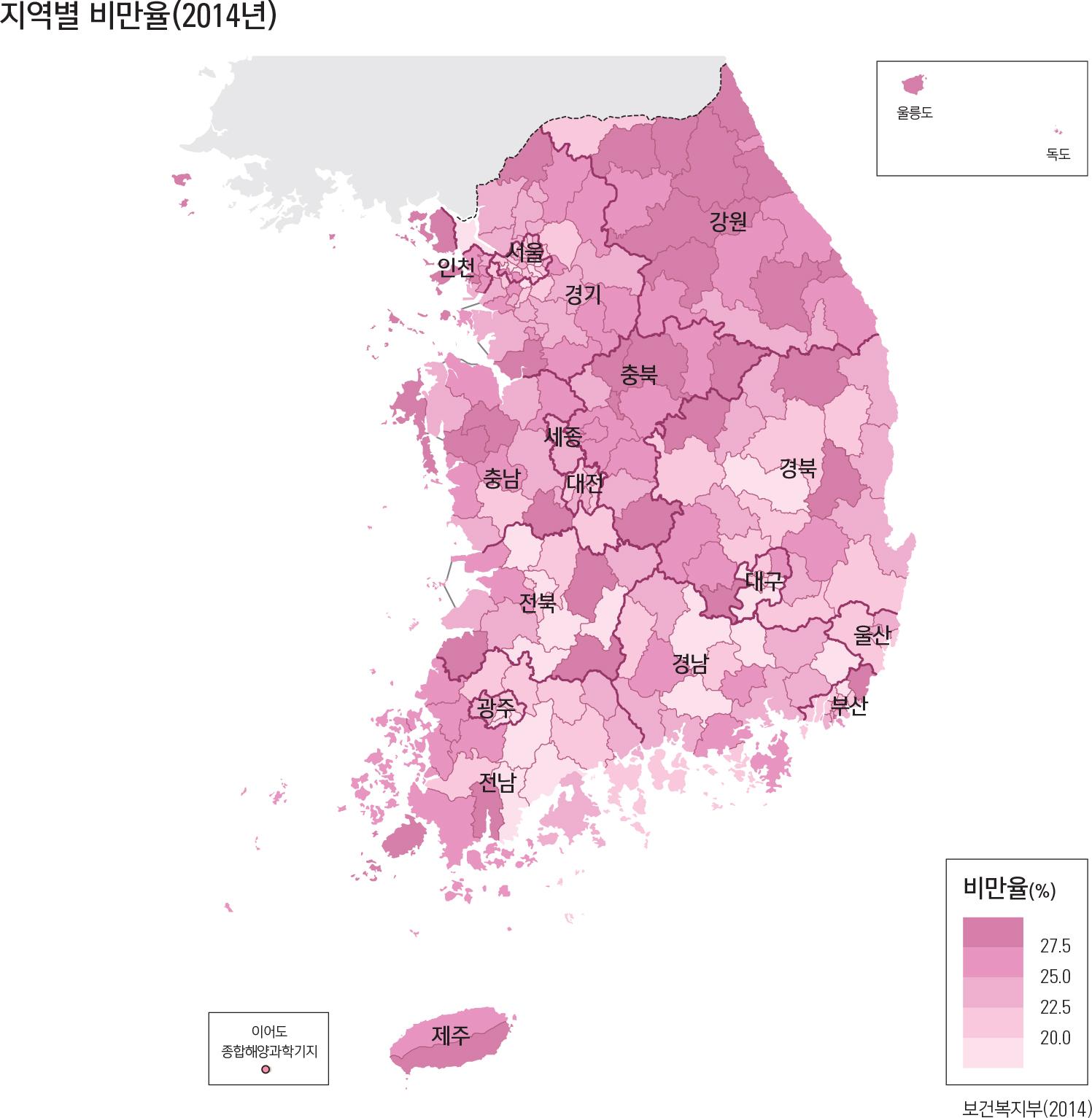 지역별 비만율(2014년)
