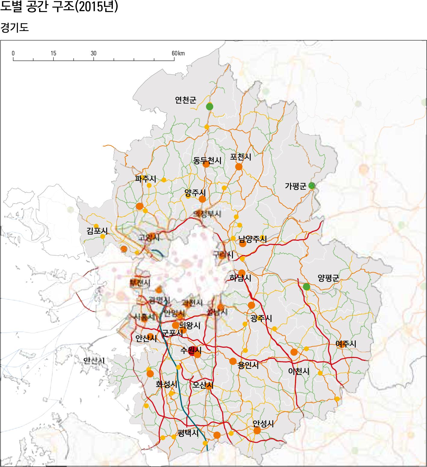 도별 공간 구조(2015년)경기도