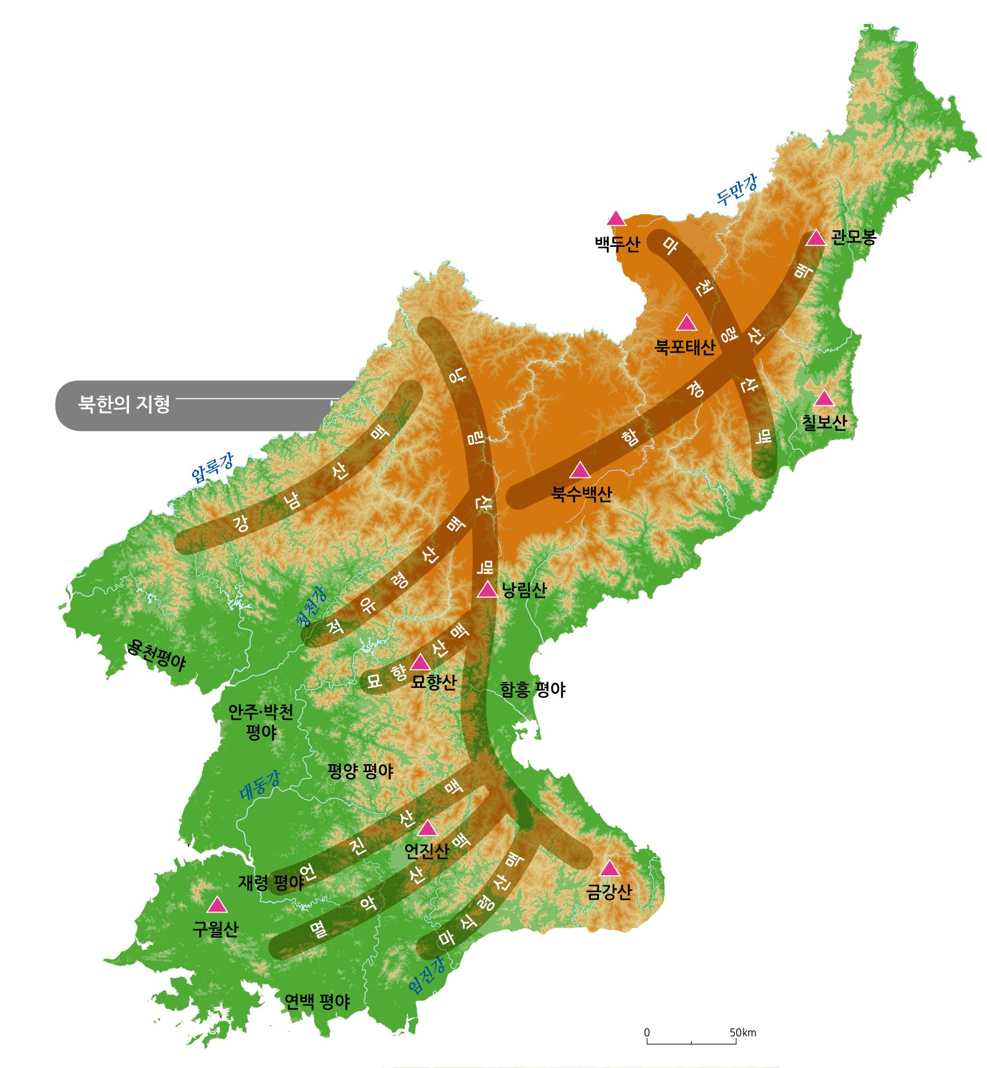 북한의 지형
