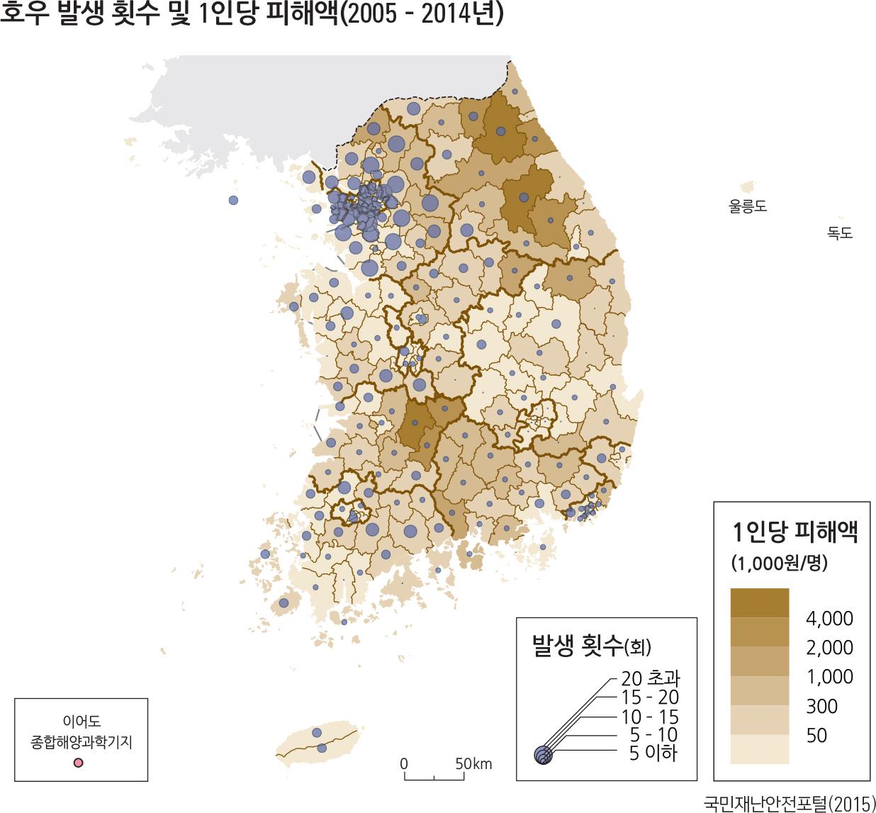 호우 발생 횟수 및 1인당 피해액(2005 – 2014년)