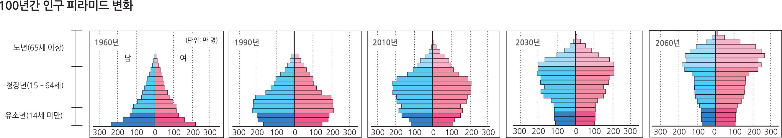 100년간 인구 피라미드 변화