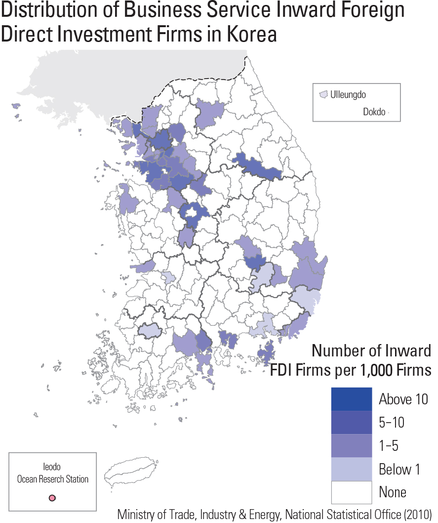 Distribution of Business Service Inward Foreign Direct Investment Firms in Korea