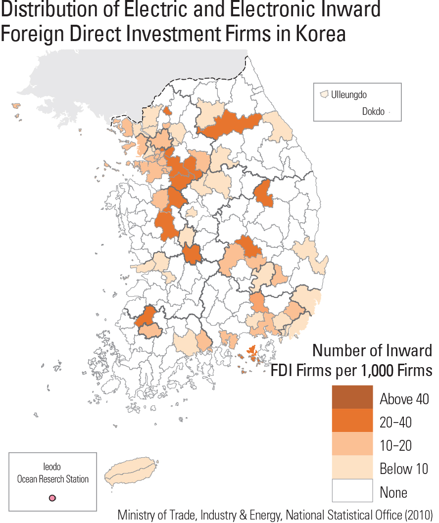 Distribution of Electric and Electronic Inward Foreign Direct Investment Firms in Korea
