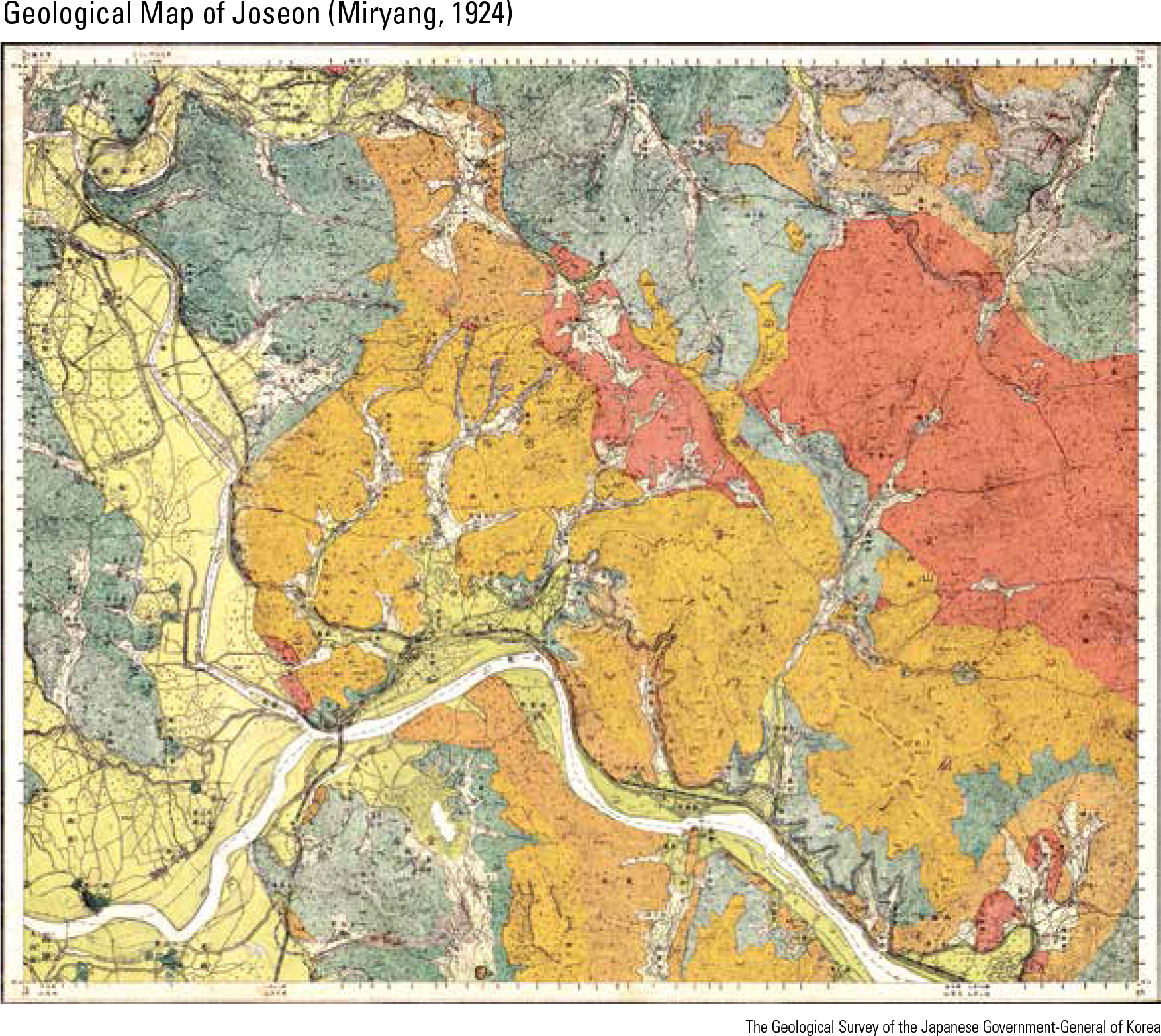 Geological Map of Joseon (Miryang, 1924)