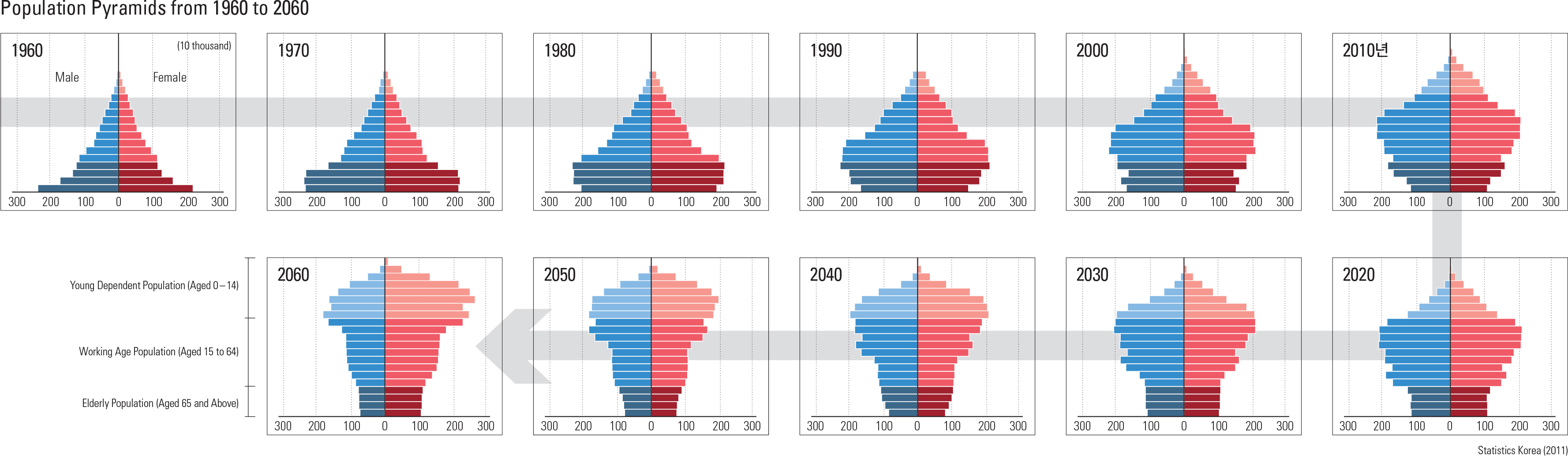 Population Pyramids from 1960 to 2060