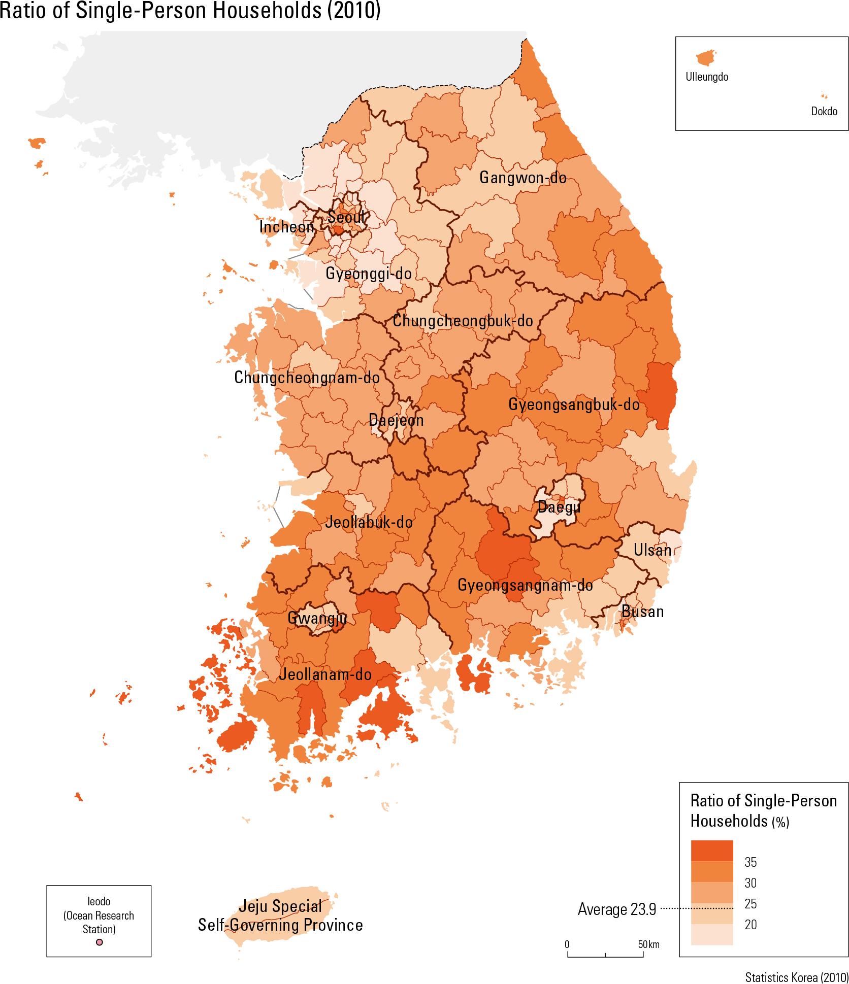 Ratio of Single-Person Households (2010)