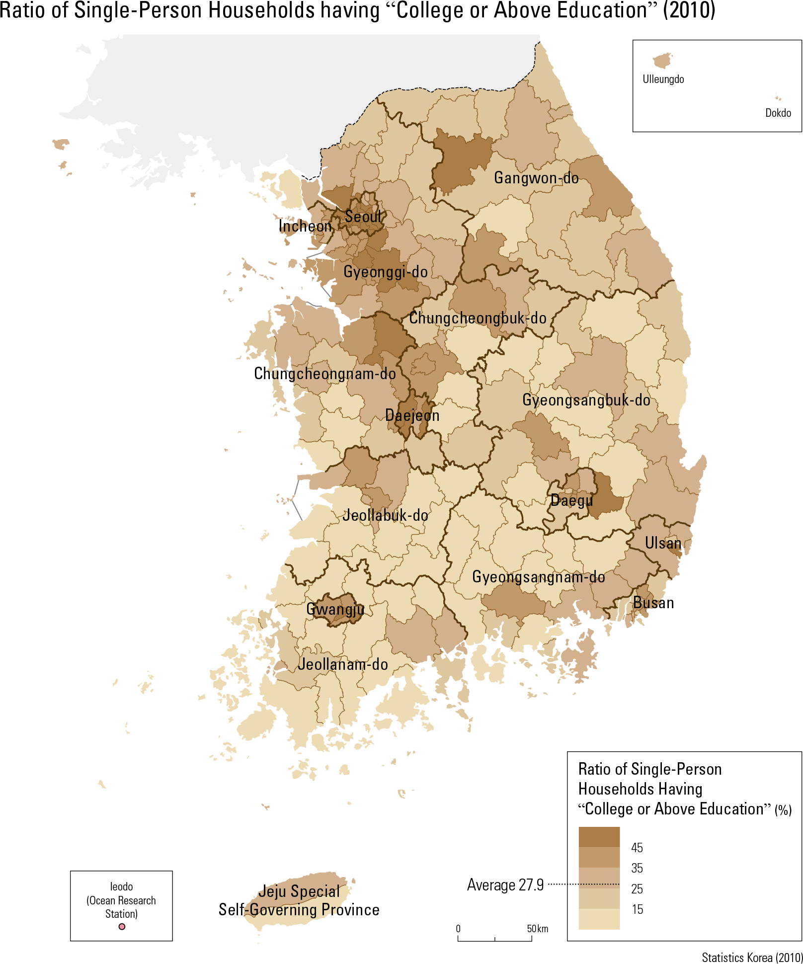 "Ratio of Single-Person Households having ""College or Above Education"" (2010)"