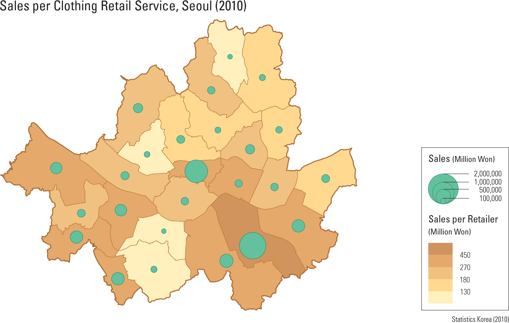 Sales per Clothing Retail Service, Seoul (2010)