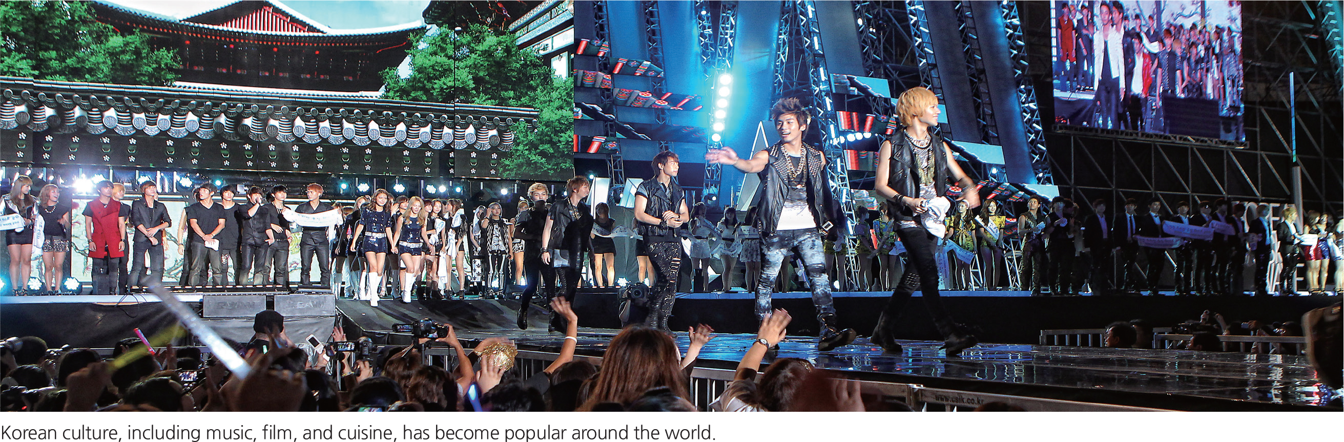 Korean culture, including music, film, and cuisine, has become popular around the world.